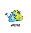 watering concept with pot and bush vector image