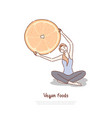 woman doing yoga and holding huge citrus fruit vector image