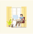 woman working on desktop at home vector image