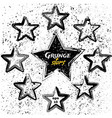 set of black grunge stars vector image