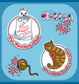sticker label with the image of cats vector image