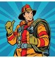 Rescue firefighter in safe helmet and uniform pop vector image