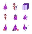assembly flat Christmas Tree deer vector image