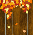 Autumn background with wooden fence and leaves vector image vector image