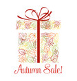 autumn sale discount offer poster with fallen leaf vector image vector image