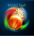 basketball sport ball flying over rainbow vector image vector image