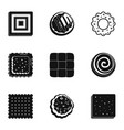 biscuit icons set simple style vector image