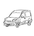 Black and white hand drawn car on white background vector image