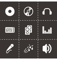 black dj icon set vector image