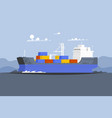 cargo ship container in ocean transportation vector image