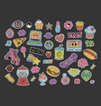 cartoon 90s style patchesstickers or icons set vector image vector image