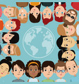 cartoon people group community world frame vector image