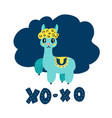 charming blue lama saying xo-xo vector image