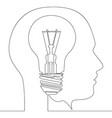 continuous one line light bulb idea in head vector image vector image