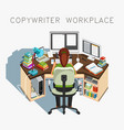 copywriter workplace writer at work vector image vector image