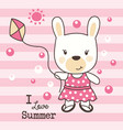 cute rabbit love summer vector image vector image