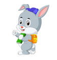 cute rabbit with backpack vector image vector image