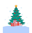 decorated with balls and garlands christmas tree vector image