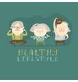Elderly people doing exercises vector image vector image