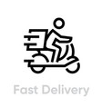 fast delivery bike icon editable line vector image vector image