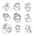 female face line with flowers continuous lines vector image vector image