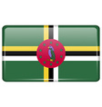 Flags Dominica in the form of a magnet on vector image vector image