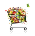 Floral bouquet in shopping cart for your design vector image vector image