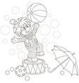 funny clown playing a big ball vector image vector image