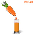 glass of carrot juice and fresh carrots isolated vector image