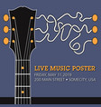 guitar live music template with funky squiggles vector image vector image