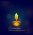 happy diwali card design with beautiful diya vector image vector image
