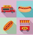 hot dog icon set flat style vector image