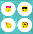 icon flat gesture set of kiss eyeglasses light vector image vector image