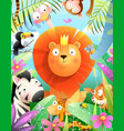 jungle animals and lion kids african zoo cartoon vector image vector image