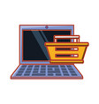 laptop with shopping basket vector image vector image