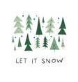 let snow christmas tree winter season postcard vector image