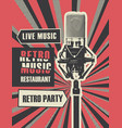 menu for retro music restaurant with microphone vector image vector image