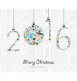 Merry Christmas Happy new year 2016 retro ornament vector image vector image