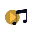 musical note and button play isolated icon vector image