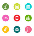 oil king icons set flat style vector image vector image