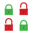 padlock icon green and red color vector image vector image