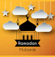 paper art greeting background for holy month vector image vector image
