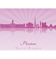 Preston skyline in purple radiant orchid vector image vector image