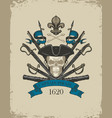 retro banner with pirate skull sabers and cannons vector image vector image