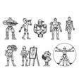robots set sketch vector image