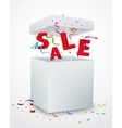 Sale message box with colorful confetti vector image vector image