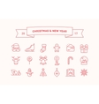 set icons for christmas and new year vector image