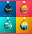 set of four eggs happy colorful easter background vector image vector image