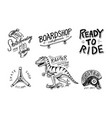 set of skateboarding labels logo skater dinosaur vector image