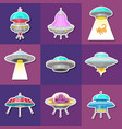 set of ufo stickers alien spaceships vector image vector image